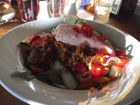 North Petherton, UK: Chilli, Lime & Salmon Couscous salad. Cooked to perfection, mouthwatering.
