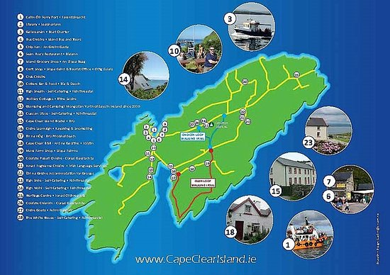 Skibbereen Ireland Map.Island Map With The 2 Walking Routes Picture Of Cailin Oir Ferry