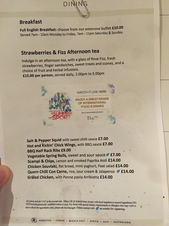 Hilton Warwick / Stratford-upon-Avon: Stained menu