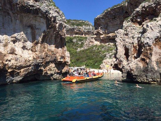 Brac Excursions: Ris Marine rib at the Blue Cave route, visiting Stiniva bay at island Vis.