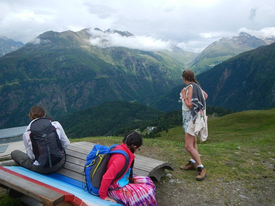 Solden, Austria: Rest stop and vantage point - Spectacular views towards Timmelsjoch Road pass