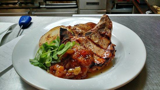Appomattox, VA: Grilled Porkchop with Chipotle Peach Chutney