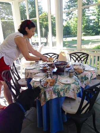 Suffield, CT: Ms. D'Otreppe puts the finishing touches on a bountiful breakfast!