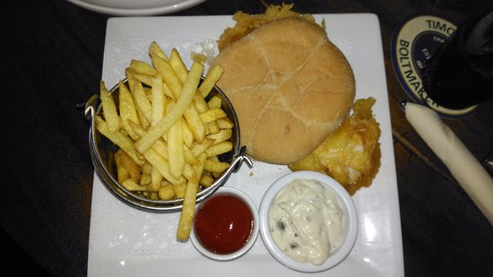 Sutton on the Forest, UK: Fillet of fish in a roll