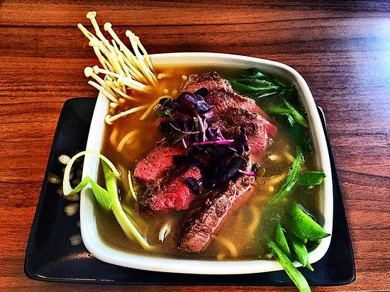 Puchov, Slovakia: Beef ramen soup