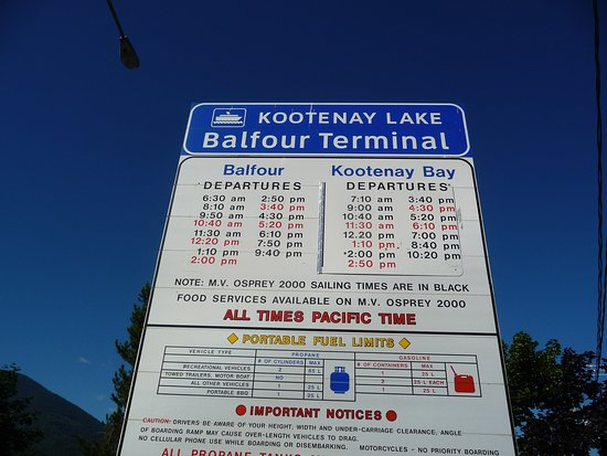 Balfour, Canadá: Kootenay Lake Ferry Schedule