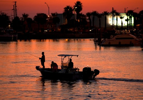 Sunset fishing near the Port Aransas harbor