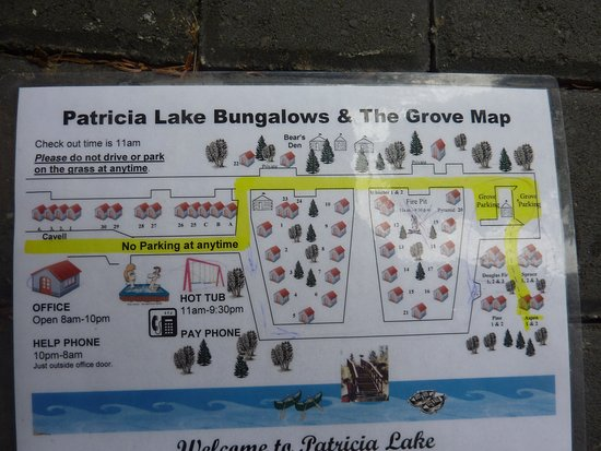 Patricia Lake Bungalows Resort: Map showing location of bungalows