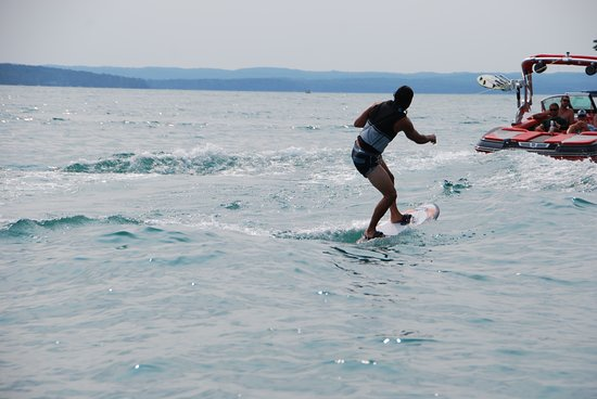 Elk Rapids, MI: Wake surfing on Elk Lake