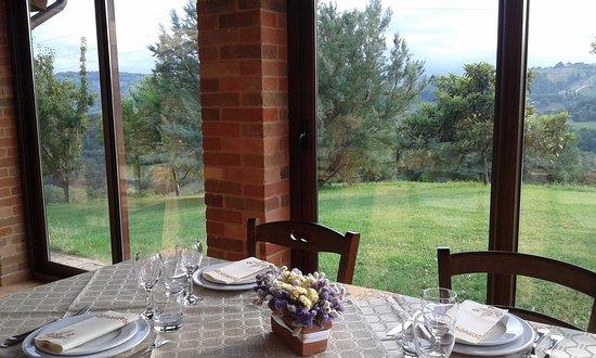 Sant'Angelo In Pontano, Italia: pranzo in veranda con vista panoramica
