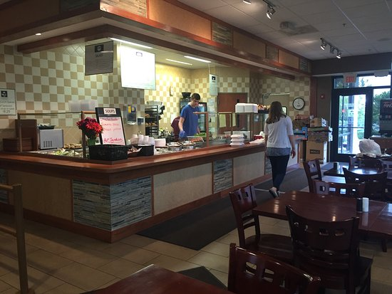 Lenexa, KS: The restaurant is on the lower level of a bank.