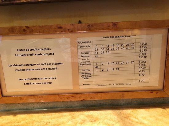 Hotel Duc de Saint Simon: Room descriptions