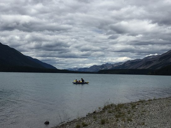 Fort Nelson, Canada: Paddling on Muncho Lake off the shore near our campsite.