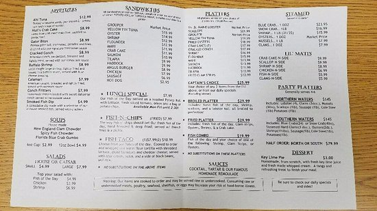 Menu Picture Of Hull S Seafood Market Restaurant Ormond