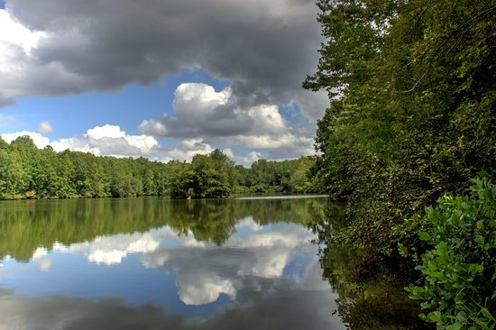 Lancaster, SC: Tranquil lake surface at start of nature trail
