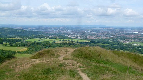 View towards the Malvern Hills and Gloucester from Painswick Beacon.