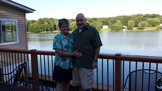 Lake Huntington, NY: My husband and I having dinner overlooking the lake.