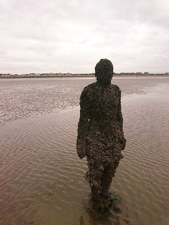 Antony Gormley S Another Place One Of The Statues Well Out Onto Beach
