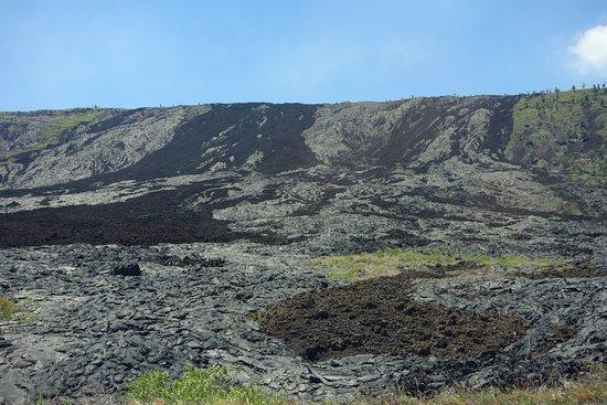 Bike Volcano: Aa (dark) and Pahoehoe lava