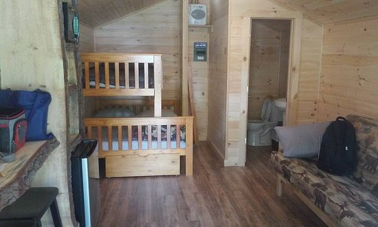 Roscoe, NY: interior, sleeps 4-5 has a bathroom tv & fridge