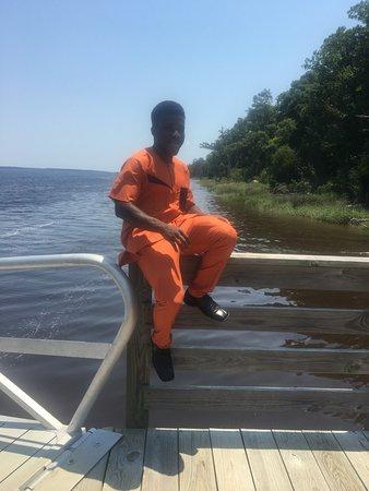 Fort McAllister State Park: Son on dock adjacent to boat ramp