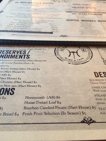 Camrose, แคนาดา: Hart House menu