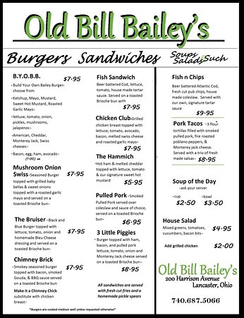 Lancaster, OH: Menu served 7 days a week from 11am - 10pm and served until 12am weekends
