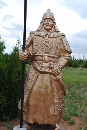 Baotou, China: Bronze warrior