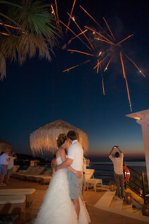 Delfino Blu Boutique Hotel: Fireworks during wedding at Delfino Blu