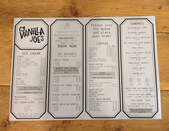Vanilla Joes: The Menu