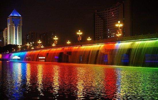 The night view of Nanhu Lake,Nanning