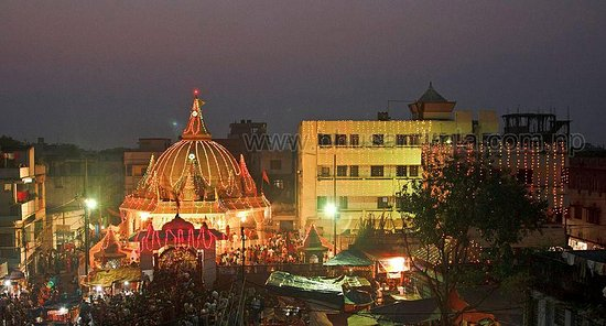 Birgunj, Nepal: Temple premises lit up during evening of Dashain, the biggest festival of Hindu.