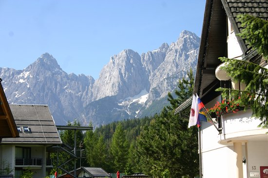 Hotel & Restaurant Miklic: View to Triglav Moutains from Car park
