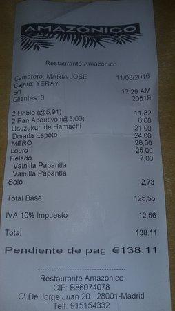 Precio Restaurante Amazónico Madrid