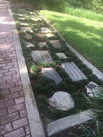 Winter Park, FL: Each marker has a stone embeddded from the person's home or other significant place.