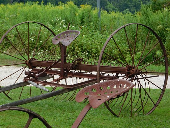 Pittsfield, MA: Farm equipment as you pull into the parking lot.