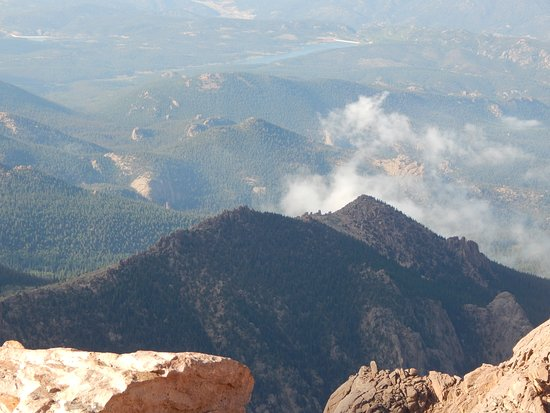 Pikes Peak Cog Railway Looking Down From The Top Of