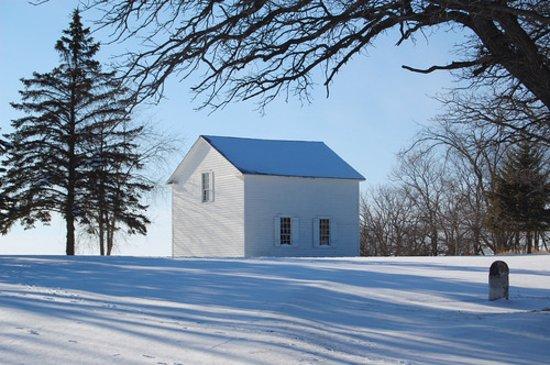Mount Horeb, WI: Hauge Historic Log Church Winter