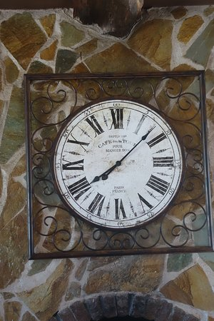 Kritinia, Greece: Old French Clock face in cafe interior, Mylos Cafe, Rhodes. Photo E. Glen