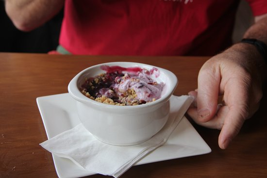 Essex, MT: Huckleberry cobbler with huckleberry ice cream!