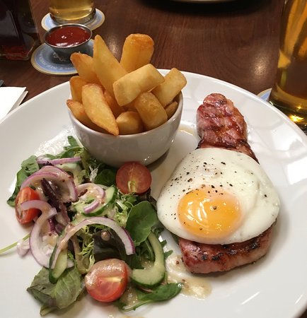 The Bacchus: Ham Steak with Fried Egg, small salad, and thick cut chips