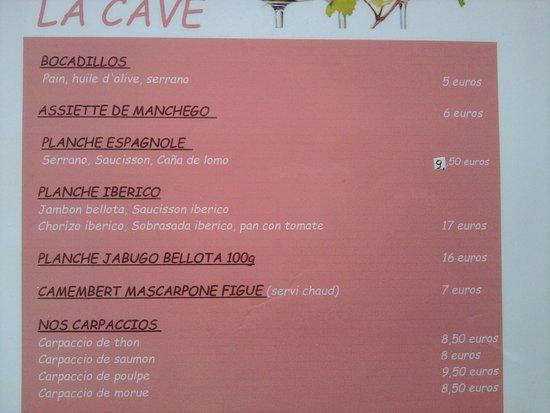 La Cave: 1 - La carte