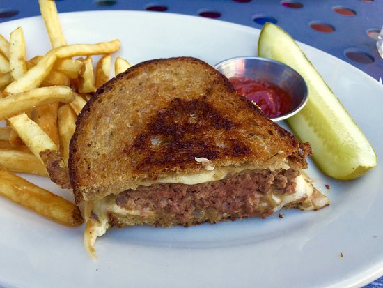 Industrial Cafe and Saloon: Patty Melt (Thursday special) with fries + dill pickle! 😀👍