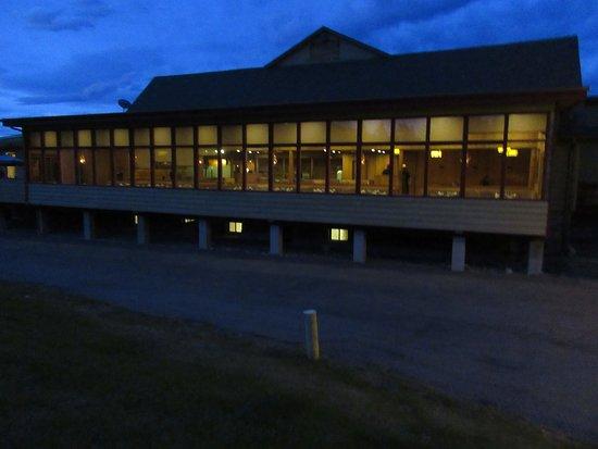 St Mary Lodge & Resort: ours is the 2nd room (right to left) with the light on. The restaurant is located above