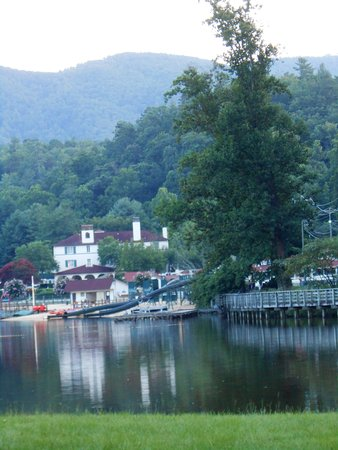 View of Hotel & small water park on Lake Lure.