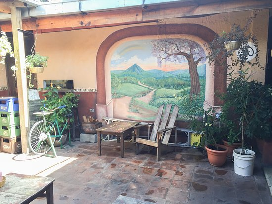 The courtyard at Rainbow Cafe