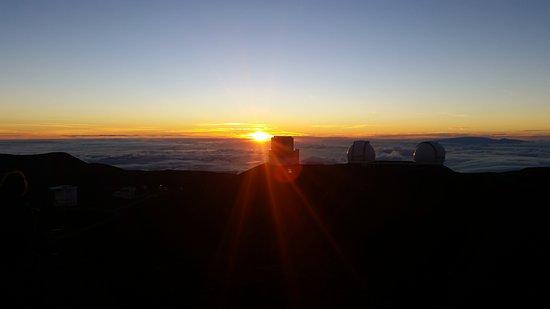 Mauna Kea Summit Adventures: Amazing sunset over the telescopes at the summit of Mauna Kea.