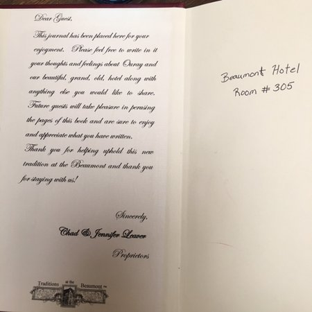 Beaumont Hotel & Spa: Guest book with personal message by the owners