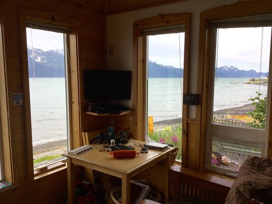 Angels Rest on Resurrection Bay, LLC: View from inside and outside Gatehouse cabin.