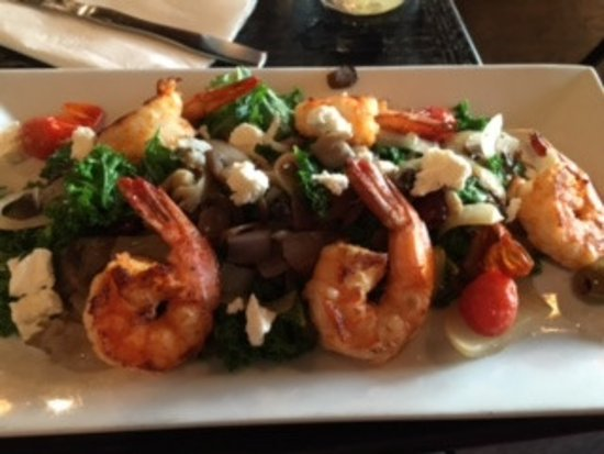 Northport, NY: kale salad with shrimp